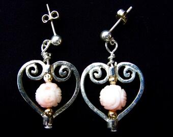 Rose in Heart Earrings