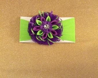 Headband green/purple pink / purple. Yellow/Navy/off-white with flower