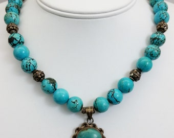 Beautiful Handmade Turquoise Round Bead & Sterling Silver Pendant Necklace