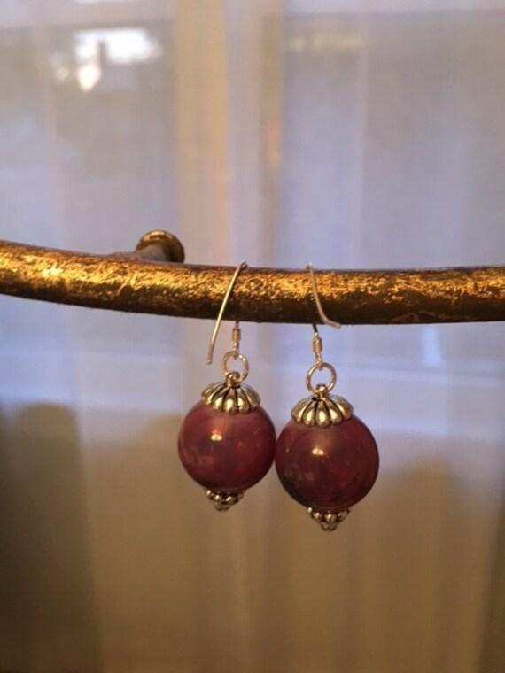 Deep red Venetian style blown hollow glass earrings on sterling hooks