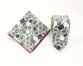 White navy blue floral tie floral pocket square wedding tie gift for men white navy blue floral skinny tie groomsmen