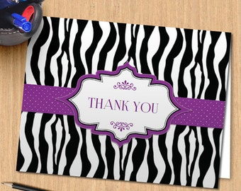 Printable Zebra Print Ribbon Thank You Greeting Card - Purple, Editable PDF, Instant Download