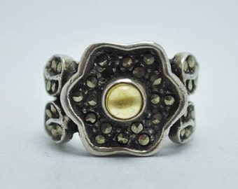 T20D07 Vintage Art Deco Style Floral Amber Marcasite 925 Sterling Silver Ring Sz 6.5