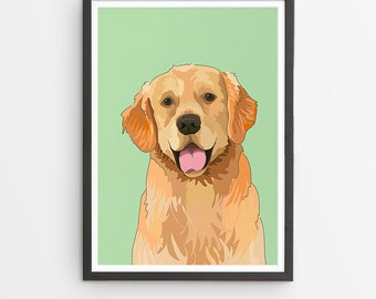 Golden Retriever Illustrated Breed Print  / Various Colours /  Dog Lover's Gift / Poster
