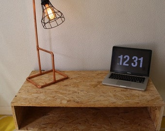 Coffee table OSB board with steel hairpin legs