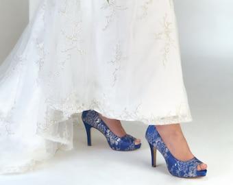 Royal Blue Wedding Shoes, Bridal Shoes, Lace Bridal Shoes, Bridesmaids Shoes, Bridal Pumps, Custom Wedding Shoes, Bridal Party