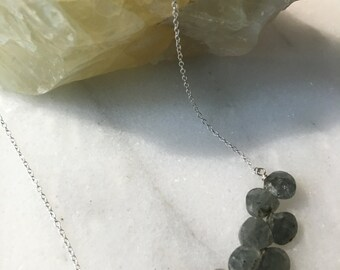 Green Moss Aquamarine Sterling Silver Necklace