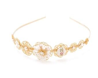 Bridal Tiara, Bride Tiara, Gold Floral Bridal Tiara, Wedding Tiara Crown, Gold Wedding Tiara, Gold Wedding Crown, Gold Vintage Style Tiara