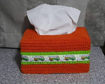 Kombi Van Crocheted Tissue Box Cover - any colour combination available to order with Kombi Ribbon on it