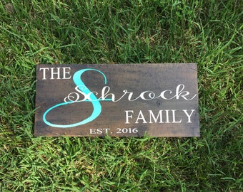 Family established hand painted wooden sign