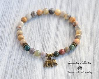 Agate 6mm Elephant bracelet Beaded bracelet Gift for her Yoga Jewelry Womens gift Wrist mala Yoga bracelet Natural stone bracelet