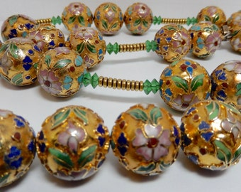 Chinese Gold & Cloisonne Enamel Beads Long Vintage Strand of Heavy Gold and Exquisite Cloissone Enamel Vintage Beads.