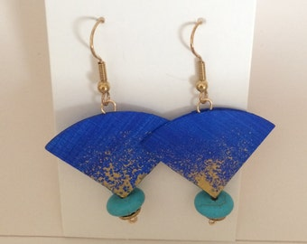 Blue Canvas and Turquoise Dangle Earrings