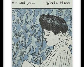 Sylvia Plath Quote Vintage Art Nouveau Book Cover Art Print