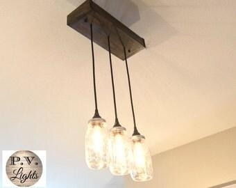 Mason Jar Light Wood Fixture, Vintage Industrial Pendant Lamp - 3 pendants