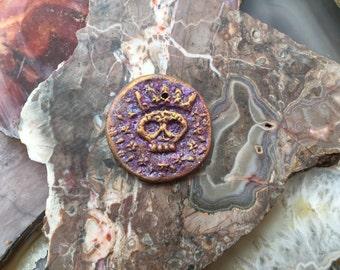 Purple Crowned Skull Pendant