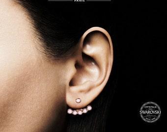 Swarovski crystals Rose Quartz  earjackets