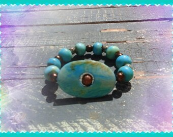 Ladys turquoise bracelet, Elastic turquoise bracelet, Womens turquoise bracelet, Bracelet turquoise, Turquoise and brown pearls bracelet