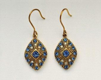 Riviera-Italian Vintage Jewelry, Swarovski Crystal, Blue