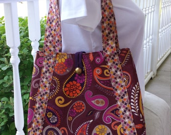 Hand made handbag  purse  tote  paisley  gold button  plum  fuschia  tangerine  goldenrod  purple  gray   by BEEDZnBAGZ