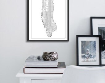 Poster poster map New York city minimalist and simple, original decoration for the House.