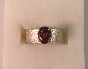 Silver/YG 14k Rhodolite Garnet Ring