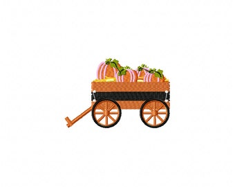 Mini wagon pumpkins embroidery design, wagon embroidery design, pumpkin embroidery design, fall embroidery design, thanksgiving embroidery