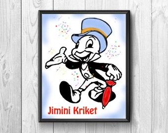 Jimini Cricket .Jimini criket posters,  Jiminy Cricket print, Pinocchio, fairy tale, Wall Poster