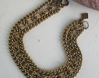 Vintage Sarah Coventry  Gold Tone Tri-Strang 3 Multiple Chain Bracelet