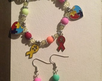 Autism Bracelet and Earrings