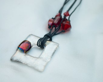 DICHROIC GLASS PENDANT Clear Red Bead Necklace - Handmade Designer Glass Jewellery, Gift, For Her, Birthday, Anniversary