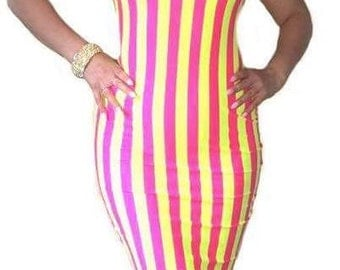 Gwisg - Beautiful Strap Yellow and Pink  Stripe Dress - Made to order