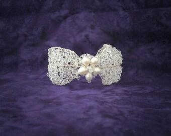 Freshwater Pearl and Swarovski Crystal Bridal Cuff, Wedding Bracelet, Crystal & Pearl Bracelet, Bridal Jewelry, Wedding Jewelry *FLEUR*