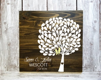 Unique Guest Book, Wedding Guest Book Alternative, Leaf Guest Book, Tree Guest Book, Wedding Guest Book, Wood Tree Guestbook w/ 102 leafs