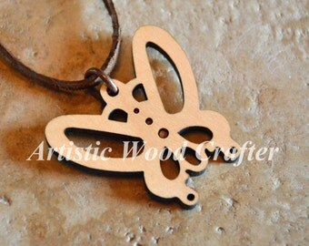 Wooden Butterfly Necklace (Birch)