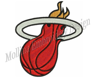 Miami Heat Logo Machine Embroidery Design 4 Size