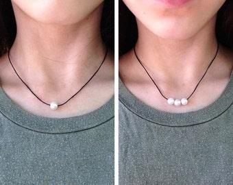 Pearl Necklace, Pearl Choker, Single Pearl Necklace, 3 Pearl Necklace, Cute Choker, Dainty Pearl Choker, Simple Choker, Basic Pearl Choker