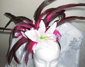 Large, dramatic pink & cerise Lily Fascinator. One off design. Perfect to stand out at the races, a wedding etc