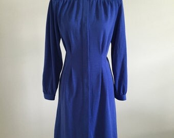 Vintage 70s The Talbots Cornflower Blue Wool  Overcoat or Dress