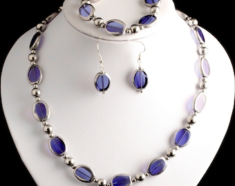 magnetic hematite necklace royal blue and silver glass with magnetic clasp