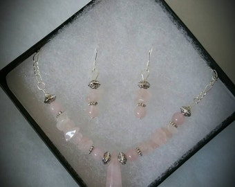 Rose Quartz- Unconditional Love Set -Earrings and Necklace- Healing Crystals- Natural Stones - Gemstones- Sterling Silver Jewerly