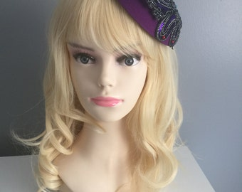 Purple Sequin Butterfly Cap/Beret in the style of Paloma Faith