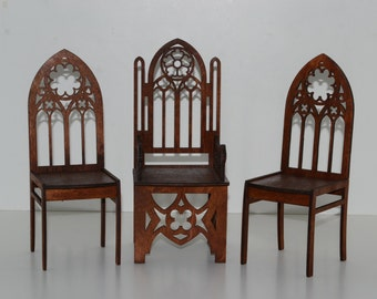 Gothic style Set: Throne & 2 chairs for Dolls 12 inches 1/6 FR Barbie furniture