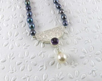 Water pearls necklace soft and Amethyst/Freshwater pearl and amethyst necklace/Amethyst/Amethyst/beads water fresh/Freshwater pearls