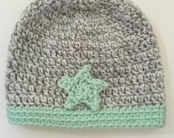 Mint Star Baby Hat
