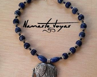 Necklace lapis lazuli and Indian elephant