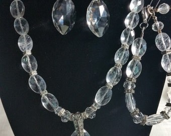 Bridal Crystal Chunky Jewelry, Neckklace, Bracelet and Earrings