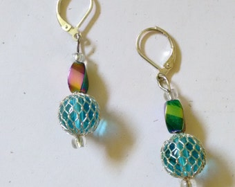 rainbow and blue earrings