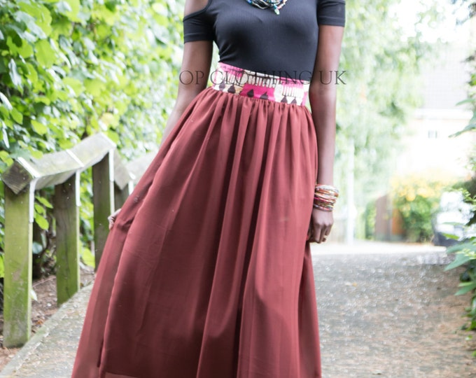 Maxi African print skirt, chiffon skirt, African skirt, long skirt, women's skirt, gathered skirt