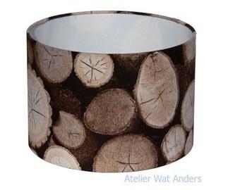 Lampshade trunk wood print around